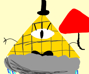 Bill Cipher on the rain with umbrella