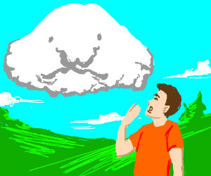 Blob fish as a cloud leaves person in awe