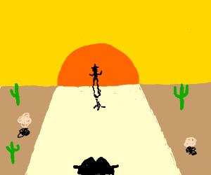 Cowboy duel at dusk