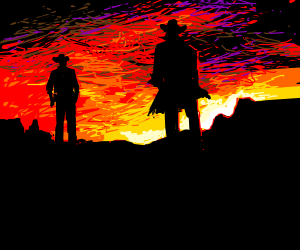 Cowboys duel at sunset