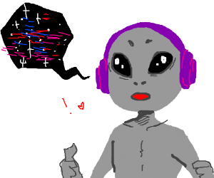 Alien listens to space music