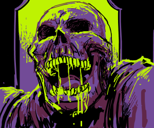 purple skeleton, green slime oozing from mouth