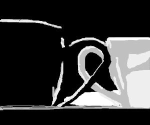 A black mug, and a white mug
