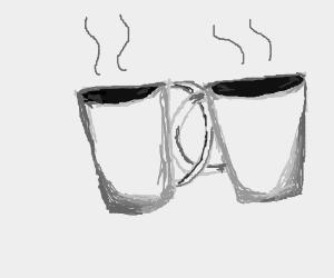 Intertwined coffee mugs.