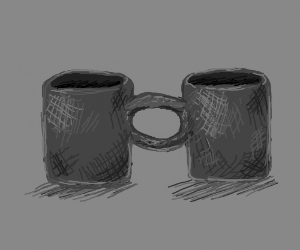 Two joined coffee mugs