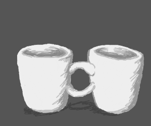 Two mugs share handle
