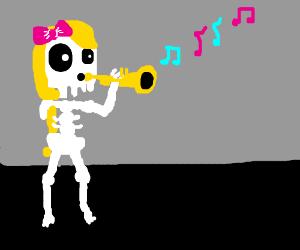 Skeleton with long blonde hair playing Trumpet