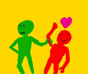green man has the red man who is in love