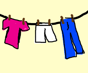 hanging clothes on a clothesline drawception