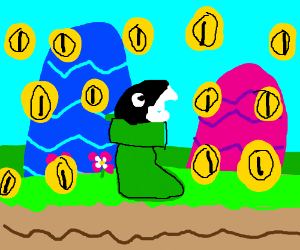 Chain chomp in a boot surronded by coins