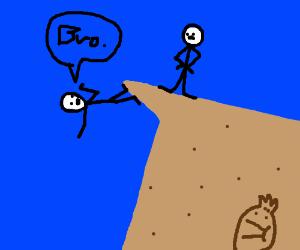 """Guy defying gravity on cliff. saying """"Bro"""""""
