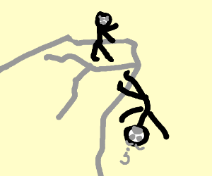 Guy was pushed off a cliff but has sticky feet