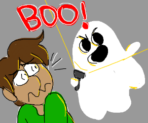 A GHOST SCARES A GUY WHITH BROWN HAIR