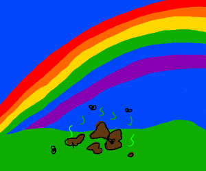 poop with rainbow in the background