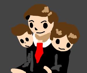Three-headed businessman