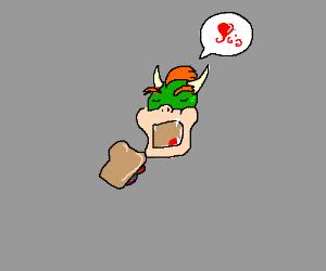 bowser eating a sandwich