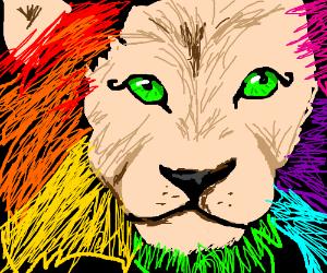 A rainbow lion with eyeliner on fleek