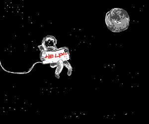 a space man with a help