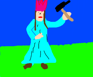 lady with pink crown and hammer