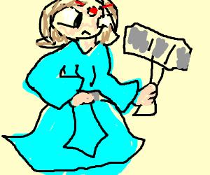 Princess in cyan robes wields a hammer