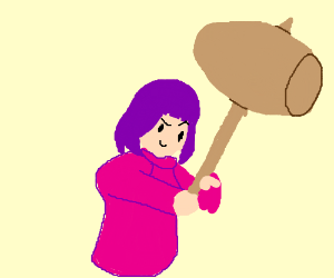 purple haired woman with rad mallet