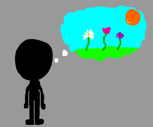 man in a black morph suit thinks of flowers