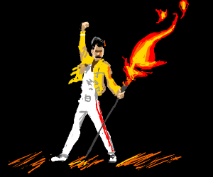 freddie mercury turns a mic into a flame gun