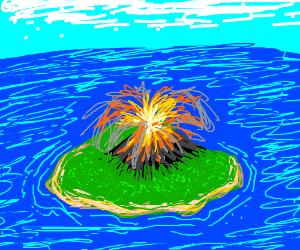 Volcano on an island erupting.