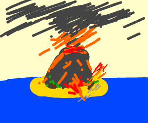 erupting volcano island
