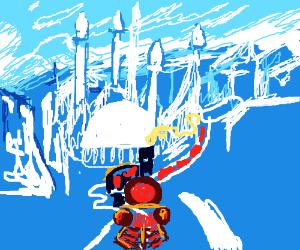 Old-time locomotive on a crystalline world