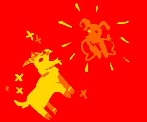 Magic golden goat makes a dog appear
