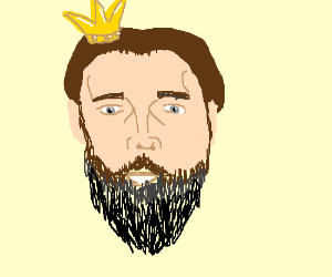 A bearded Nicolas cage as king