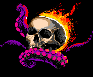 Flaming skull with octopus tentacles