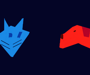 a blue cat meets a red dog