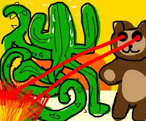 Cactus running through green vine lasers teddy