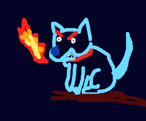 fire ice dog breathing out fire angrily