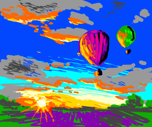 Hot air balloons hover above a blissful sunset