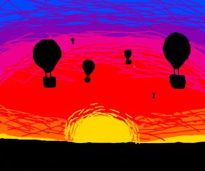 Hot Air balloons against sunset