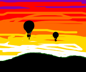 Two hot air balloons in sunset