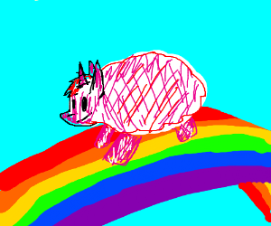 pink fluffy unicorns dancing on rainbows - Drawception