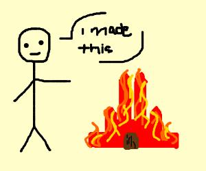 stickman makes fire castle