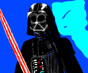 Darth Vader holding a lightsaber