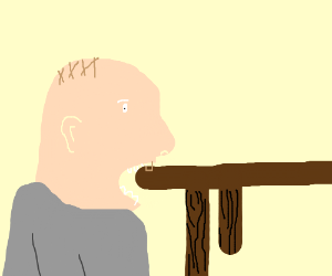 Dude eating a table