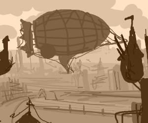 Art Deco/Steampunk scene of blimp over city