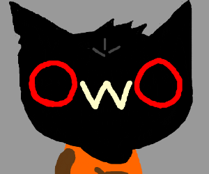 Black Cat With The Owo Face Drawception