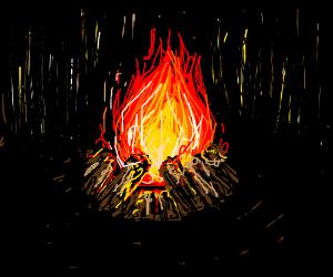 Campfire in a dark forest