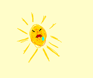 sun crying w/ a red hitler moustache