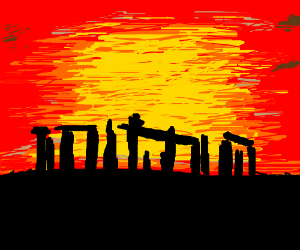 Silhouetted Stone Henge At Dusk