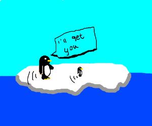 small penguin running away from big penguin