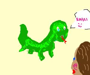 Green lizard callin human a senpai